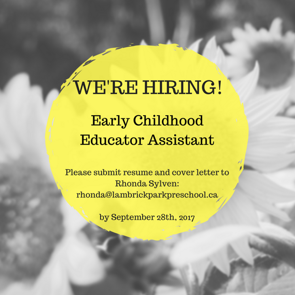 We are looking for an energetic and nurturing Assistant ECE to join our team. The successful applicant will work under the direction of our ECE, assisting in the implementation of a quality childcare program for children ages 30 months to 5 years old. Please view our ad for more details: https://ca.indeed.com/cmp/Lambrick-Park-Preschool-&-Childcare/jobs/Early-Childhood-Educator-Assistant-6b7944e788eaa649?q=ece+assistant